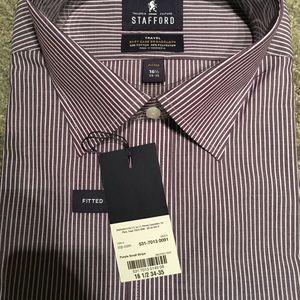 Stafford Shirts - Stafford New Dress Shirt Purple Stripe 16.5 34/35